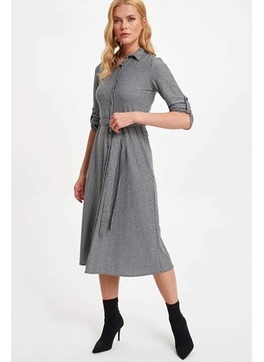 DeFacto Kareli Regular Fit Uzun Gömlek Elbise Gri